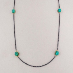 "Chrysocolla ""Textile"" Layering Necklace by Amali - 36"""