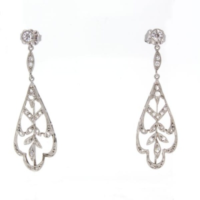 Edwardian Earrings W/ Diamonds
