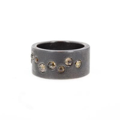 Oxidized Ring with Autumn Diamonds by Todd Reed